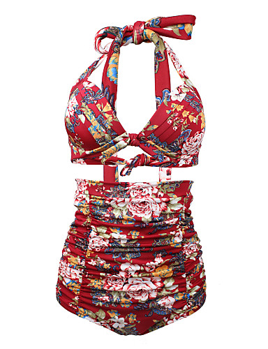 billige Dametopper-Dame Høy Midje Store størrelser Vintage Grime Hvit Svart Vin Høy Midje Bikini Badetøy - Blomstret Trykt mønster Hvit