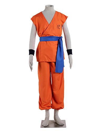 povoljno Anime cosplay-Inspirirana Dragon Ball Goku Anime Cosplay nošnje Japanski Cosplay Suits Jednobojni Bez rukávů Top / Hlače / Pojas Za Muškarci