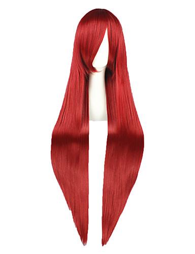 povoljno Maske i kostimi-Fairy Tail Elza Scarlet Cosplay Wigs Muškarci Žene 40 inch Otporna na toplinu vlakna Crvena Anime