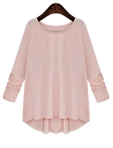 billige Dametopper-Store størrelser T-skjorte Dame - Ensfarget Hvit / Sommer