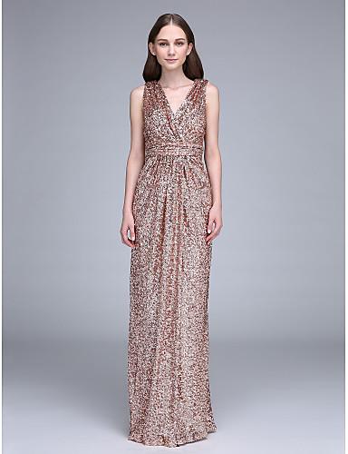 ราคาถูก Bridesmaid Dresses-ชีท / คอลัมน์ คอวี ลากพื้น เลื่อม เพื่อนเจ้าสาวชุด กับ เลื่อม / จับจีบ โดย LAN TING BRIDE® / เปิดหลัง