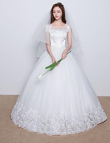 61e7cd1bba Báli ruha Scoop nyak Földig érő Csipke Szatén Tüll Egyéni esküvői ruhák val  vel Gyöngydíszítés Rátétek Csipke Fodros által 5094921 2019 – $89.99