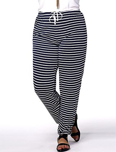 Extensible Pantalon Normale Actif de Jeans Femme Taille Sarouel Rayé q4vt4xUw