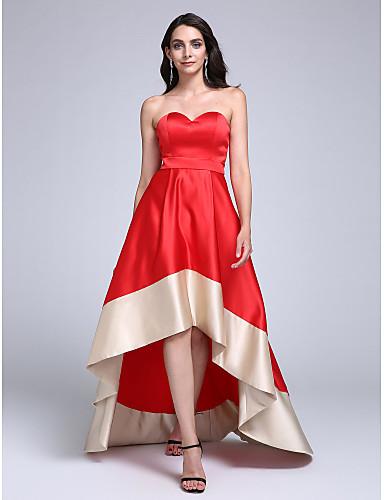b5c66a3445 Corte en A Escote Corazón Asimétrica Satén Estirado Baile de Promoción  Evento Formal Vestido con Cinta   Lazo por TS Couture® 4410509 2019 –   109.99