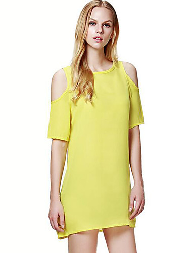 7286d5be573 Going out / Plus Size Simple Loose / Chiffon Dress - Solid Colored Mini Off  Shoulder / Summer 5064838 2019 – $8.39