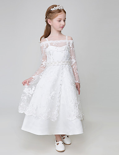 9ec53e1167a Ball Gown Ankle Length Flower Girl Dress - Polyester Tulle Long Sleeves  Spaghetti Straps with Appliques by LAN TING BRIDE® 5094325 2019 –  69.99