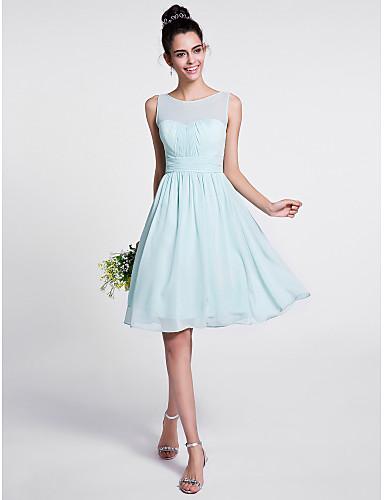 preiswerte Kaiserliches Blau-A-Linie U-Ausschnitt Knie-Länge Chiffon Brautjungfernkleid mit Drapiert / Gerafft durch LAN TING BRIDE®