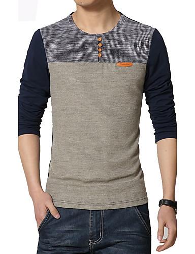 voordelige Heren T-shirts & tanktops-Heren Grote maten - T-shirt Sport Kleurenblok / Patchwork Marineblauw / Lange mouw