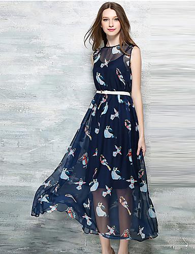8272d4f70 De las mujeres Gasa Vestido Casual Diario   Tallas Grandes Vintage    Boho