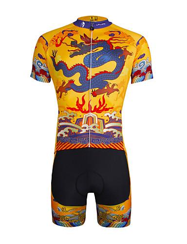 povoljno Odjeća za vožnju biciklom-ILPALADINO Muškarci Kratkih rukava Biciklistička majica s kratkim hlačama Bijela Bicikl Kratke hlače Biciklistička majica Sportska odijela Prozračnost Pad 3D Quick dry Ultraviolet Resistant / Likra