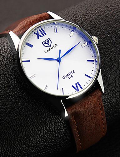 preiswerte YAZOLE®-YAZOLE Herrn Uhr Armbanduhr Quartz Leder Schwarz / Braun Analog Klassisch Einfache Uhr Schwarz Braun