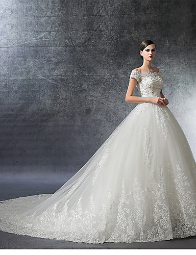 Ball Gown Off Shoulder Cathedral Train Satin   Lace Over Tulle  Made-To-Measure Wedding Dresses with Crystal   Appliques   Ruffle by LAN  TING Express ... 22fcdbb791a2