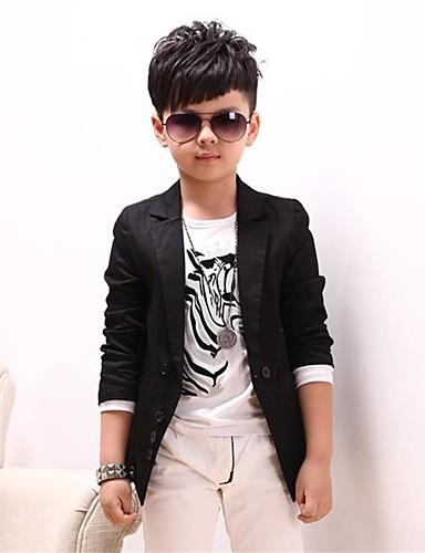 povoljno Najprodavanije-Dječaci Cool Dnevno Jednobojni Dugih rukava Pamuk Odijelo i sako Crn