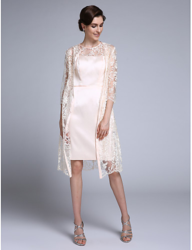 7140a9a1ff7 Sheath   Column Jewel Neck Knee Length Chiffon   Lace Mother of the Bride  Dress with Lace by LAN TING BRIDE® 4915421 2019 –  109.99