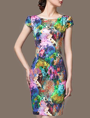 preiswerte Ausverkauf-Damen Übergrössen Ausgehen Anspruchsvoll Seide Schlank Hülle Kleid - Druck, Blumen Übers Knie