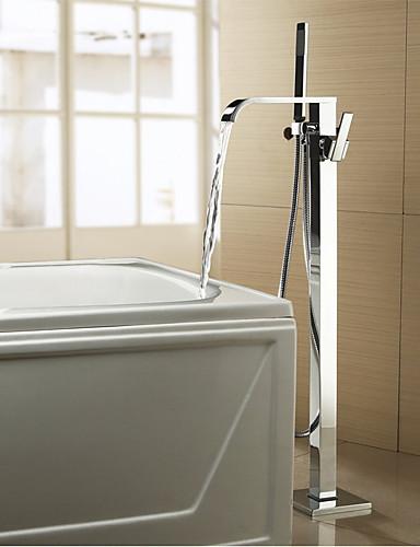 preiswerte Seitendüse-Badewannenarmaturen - Moderne / Modern Chrom Badewanne & Dusche Keramisches Ventil Bath Shower Mixer Taps / Zwei Griffe Zwei Löcher