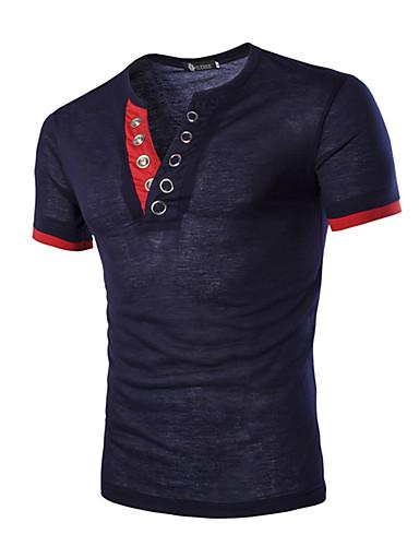 voordelige Heren T-shirts & tanktops-Heren T-shirt Sport Effen Marineblauw / Korte mouw / Zomer