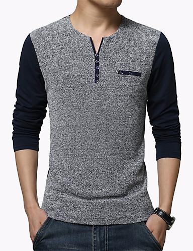 voordelige Heren T-shirts & tanktops-Heren Standaard Grote maten - T-shirt Sport / Werk Kleurenblok Slank Wit / Lange mouw / Lente / Herfst / Winter