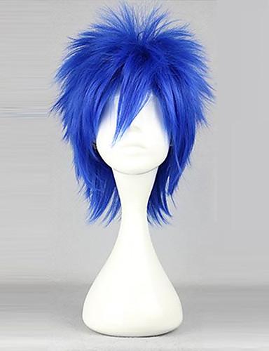 povoljno Maske i kostimi-Fairy Tail Mystogan Cosplay Wigs Muškarci 14 inch Otporna na toplinu vlakna Plava Anime
