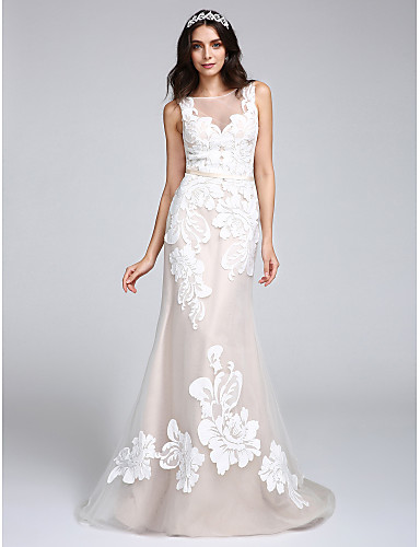 cheap Wedding Dresses-Mermaid / Trumpet Bateau Neck Sweep / Brush Train Tulle / Floral Lace Regular Straps Romantic / Boho / Sexy See-Through / Illusion Detail Wedding Dresses with Appliques / Button 2020