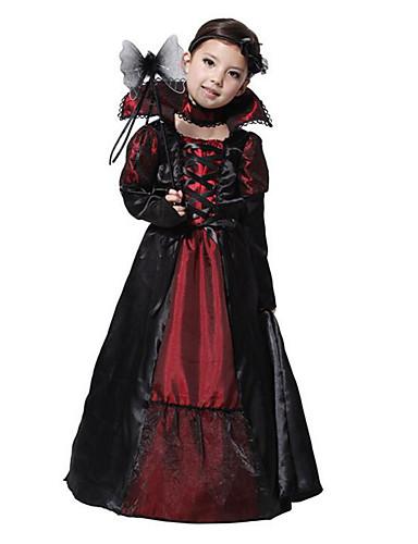 preiswerte Spielzeug & Hobby Artikel-Vampire Cosplay Kostüme Party Kostüme Kinder Mädchen Weihnachten Halloween Karneval Fest / Feiertage Terylen Schwarz Weiblich Karneval Kostüme Vintage