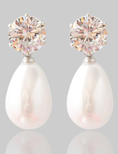 preiswerte Hochzeiten & Feste-Damen Synthetischer Diamant Ohrstecker Modisch Perlen Ohrringe Schmuck Silber Für Hochzeit Party