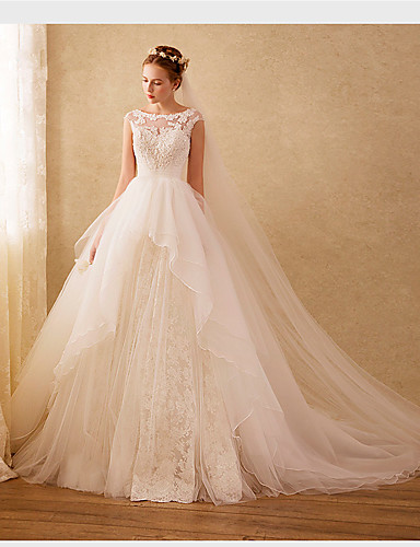cheap Wedding Dresses-Ball Gown Bateau Neck Sweep / Brush Train Organza / Beaded Lace Cap Sleeve Formal Floral Lace Wedding Dresses with Lace / Beading / Appliques 2020
