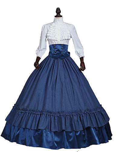 povoljno Maske i kostimi-kraljica Elizabeth Rococo Viktoriánus Srednjovjekovni 18. stoljeće Haljine Kostim za party Povorka maski Žene Čipka Saten Kostim Red / Dark Blue Vintage Cosplay Party Prom Dugih rukava Do poda