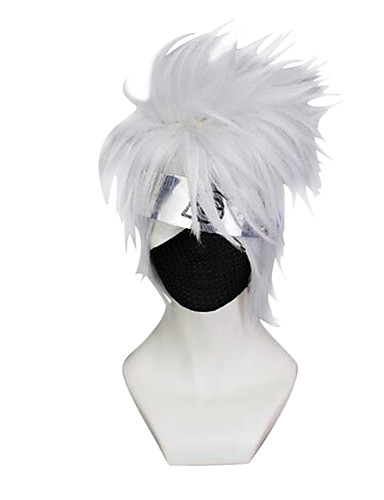 cheap Cosplay Wigs-Naruto Hatake Kakashi Cosplay Wigs Men's 10 inch Synthetic Fiber Silver Anime