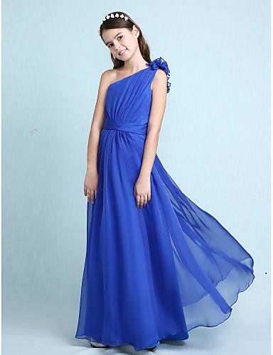 Γραμμή Α   Πριγκίπισσα Ένας Ώμος Μακρύ Σιφόν Φόρεμα Νεαρών Παρανύμφων με  Ζώνη   Κορδέλα   9c50a1f5c10