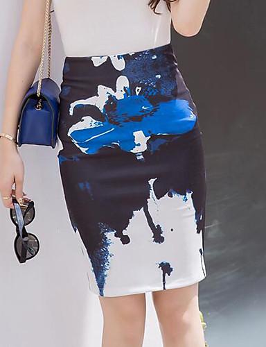 preiswerte Bleistiftrock-Damen Übergrössen Street Schick Ausgehen Baumwolle Bodycon Röcke - Einfarbig Gespleisst / Druck Marinenblau XL XXL XXXL / Schlank