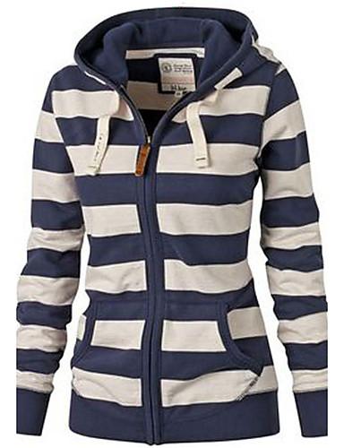 cheap Women's Tops-Women's Basic Hoodie - Striped Blue & White Navy Blue M / Fall