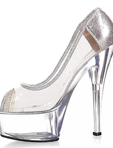 preiswerte Schuhe für die Semesterferien-Damen High Heels Stöckelabsatz Glitter Glanz / PVC Club-Schuhe / Lucite Ferse Frühling / Sommer Golden / Silber / Hochzeit / Party & Festivität / Party & Festivität / EU40
