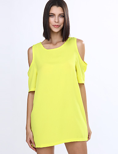 cheap Women's Tops-Women's Off Shoulder Party Mini Loose Dress - Solid Colored Cut Out Summer Cotton White Black Yellow L XL XXL