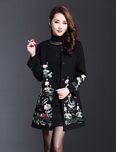 Γυναικεία Παλτό Μεγάλα Μεγέθη Βίντατζ   Κινεζικό στυλ Μονόχρωμο    Κέντημα 498c4dd2503