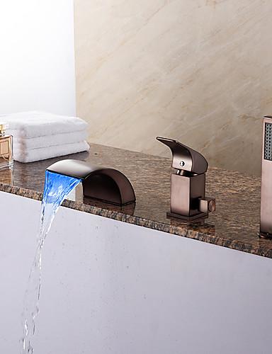 preiswerte LED Badewannenarmaturen-Badewannenarmaturen - Antike Öl-riebe Bronze Romanische Wanne Keramisches Ventil Bath Shower Mixer Taps / Messing / Einhand Drei Löcher