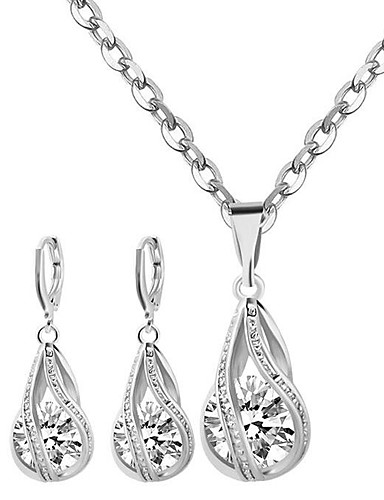 cheap Sterling Silver Jewelry Sets-Women's Diamond Cubic Zirconia Moissanite Pendant Necklace Necklace / Earrings Solitaire Round Cut Ladies Fashion Bridal Sterling Silver Zircon Earrings Jewelry White For Wedding Party Daily Casual
