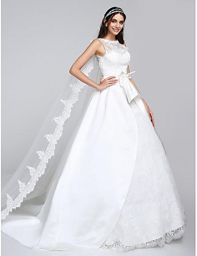 Báli ruha Illúziós nyakpánt Watteau uszály Szatén Tüll Esküvői ruha val vel  Rátétek Csipke által LAN TING BRIDE® 4505400 2019 –  279.99 9eaf97759c