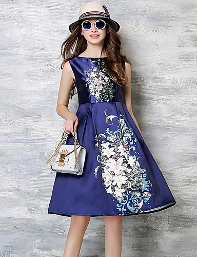 preiswerte MAXLINDY®-Damen Festtage / Ausgehen Retro / Street Schick / Anspruchsvoll Baumwolle A-Linie Kleid Blumen Knielang