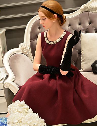 preiswerte DABUWAWA®-Damen Ausgehen Retro / Anspruchsvoll Hülle / Das kleine Schwarze / Skater Kleid - Perlenbesetzt / Mehrschichtig / Gefaltet, Solide Knielang