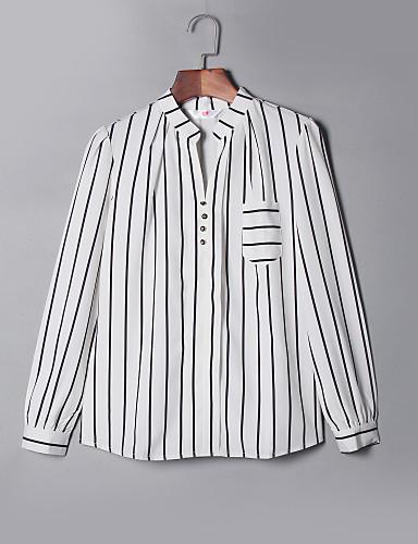 billige Dametopper-Skjortekrage Store størrelser Bluse Dame - Stripet Hvit / Høst / fin Stripe