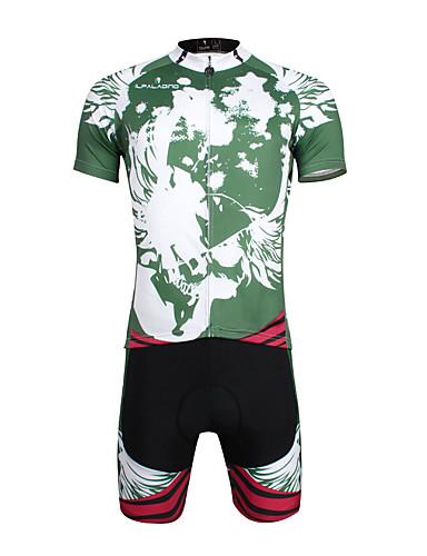 povoljno Odjeća za vožnju biciklom-ILPALADINO Muškarci Kratkih rukava Biciklistička majica s kratkim hlačama Zeleni i crni Bicikl Biciklistička majica Sportska odijela Brdski biciklizam biciklom na cesti Prozračnost Quick dry / Likra
