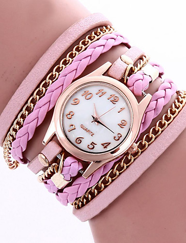 cheap Floral Watches-Women's Bracelet Watch Wrist Watch Wrap Bracelet Watch Quartz Leather Black / White / Blue / Analog Flower Bohemian Fashion - Red Pink Light Blue