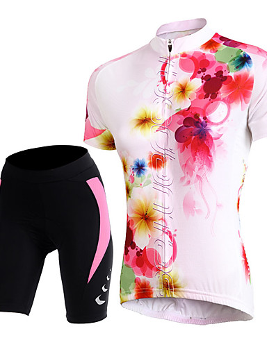 cheap Massive Clearance Sale-TASDAN Women's Short Sleeve Cycling Jersey with Shorts Floral Botanical Bike Shorts Jersey Padded Shorts / Chamois Breathable 3D Pad Quick Dry Reflective Strips Back Pocket Sports Floral Botanical