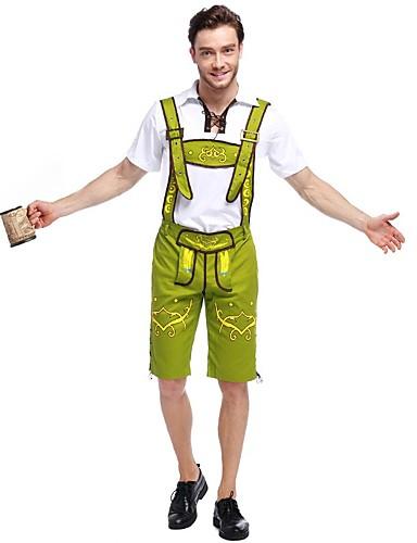 billige Sexy Uniformer-Halloween Oktoberfest Dirndl Trachtenkleider Herre Topp Kjole Bukser bayerske Kostume