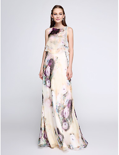 cheap Special Occasion Dresses-Sheath / Column Floral White Holiday Wedding Guest Dress Jewel Neck Sleeveless Floor Length Chiffon with Ruffles Pattern / Print 2020