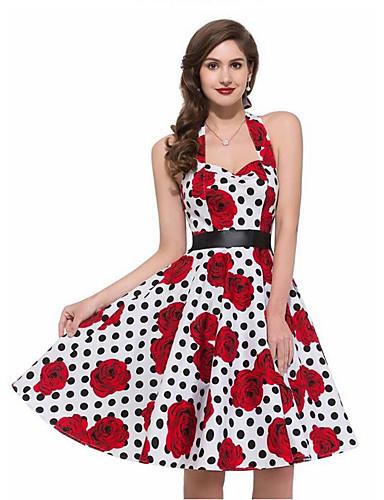 preiswerte Vintage Ladies-Damen Ausgehen Retro A-Linie Kleid - Druck, Punkt Knielang Halter / Blumen