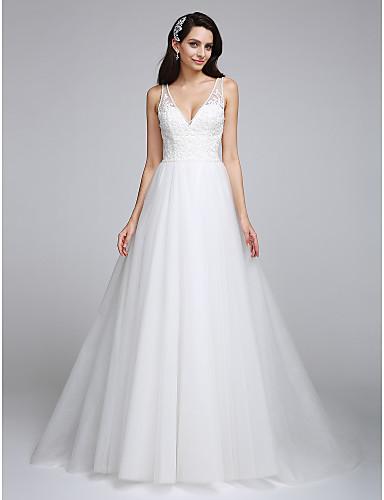 dd188878419 A-Line V Neck Sweep / Brush Train Tulle Lace Bodice Custom Wedding Dresses  Beading Appliques LAN TING BRIDE®