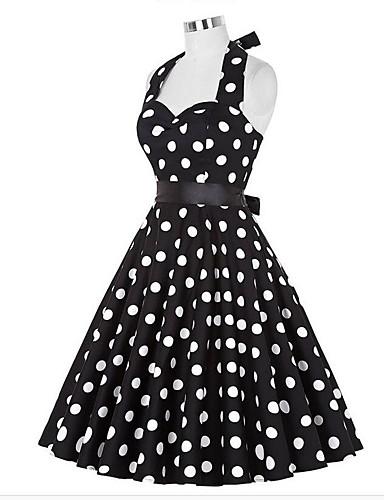preiswerte Vintage Ladies-Damen Ausgehen Retro A-Linie Kleid Punkt Knielang Halter