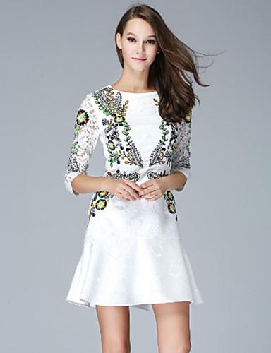 970a40b837 klimeda női alkalmi / napi aranyos vonal ruha, hímzett ing gallérja térd  felett ¾ ujjú fehér poliészter ősszel 5207618 2019 – $63.99